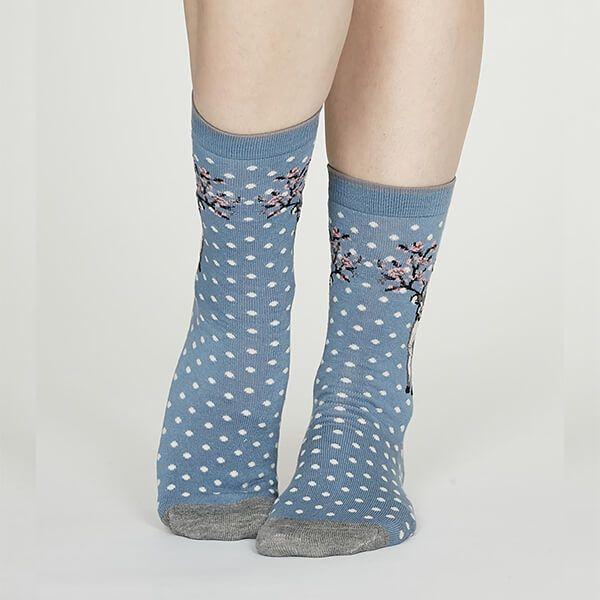Thought Powder Blue Elias Bamboo Christmas Light Socks