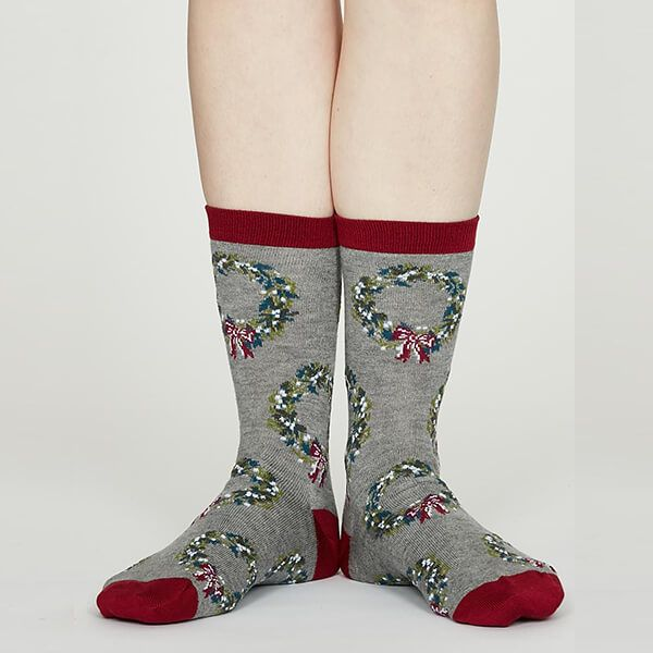 Thought Mid Grey Marle Adella Bamboo Christmas Wreath Socks