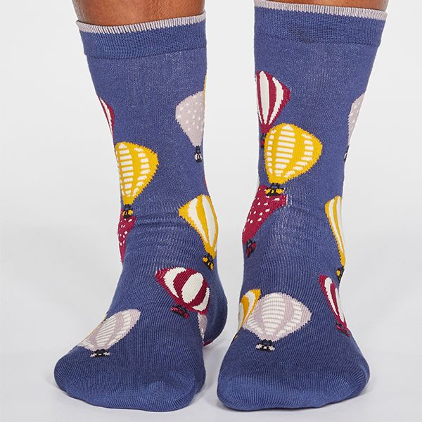 Thought Mineral Blue Louise Air Balloon Bamboo Organic Cotton Blend Socks