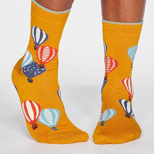 Thought Sunflower Yellow Louise Air Balloon Bamboo Organic Cotton Blend Socks