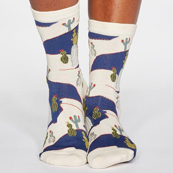 Thought Cream Ettie Cactus Print Organic Cotton Socks
