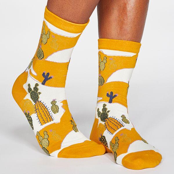 Thought Sunflower Yellow Ettie Cactus Print Organic Cotton Socks