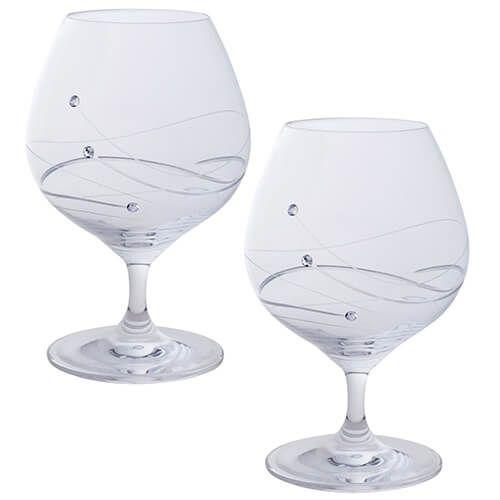 Dartington Glitz Swarovski Elements Set Of 2 Brandy/Liqueur Glasses
