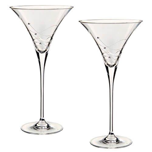 Dartington Glitz Swarovski Elements Set Of 2 Martini Glasses