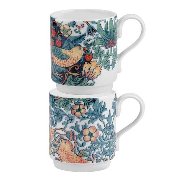 Morris & Co Strawberry Thief Stacking Mugs Set of 2