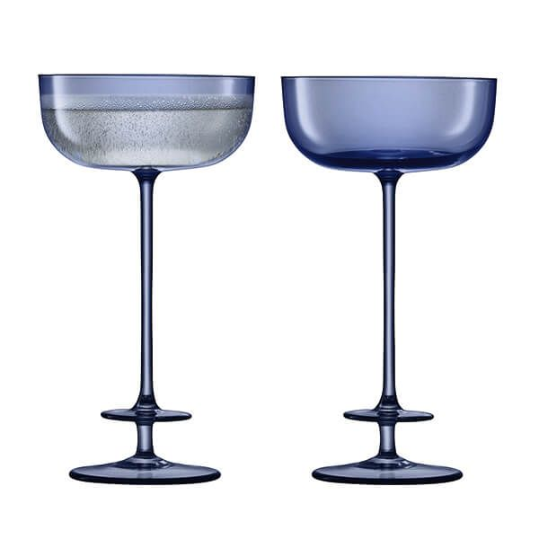 LSA Champagne Theatre 210ml Champagne Saucer Tier / Midnight Blue Set Of 2