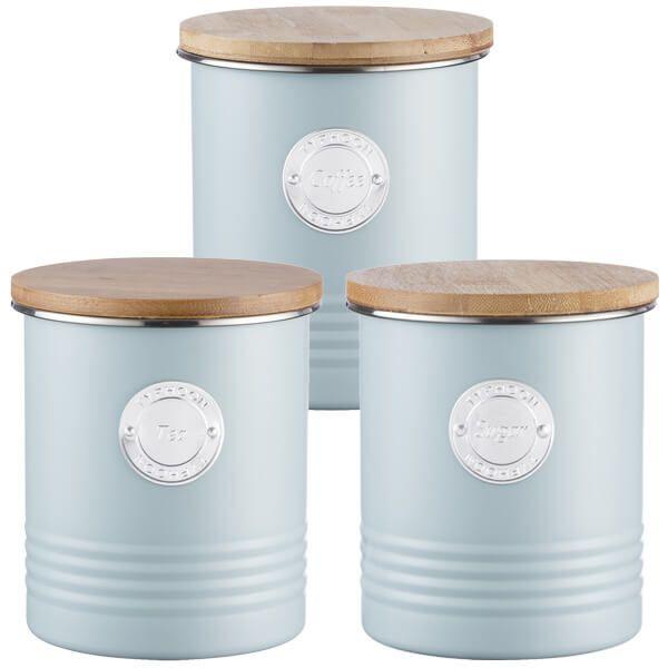 Typhoon Living 3 Piece Storage Set Tea, Coffee & Sugar Blue