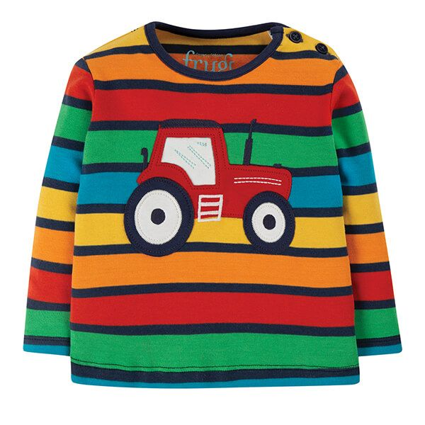Frugi Bumble Rainbow Button Applique Top Size 2-3 Years