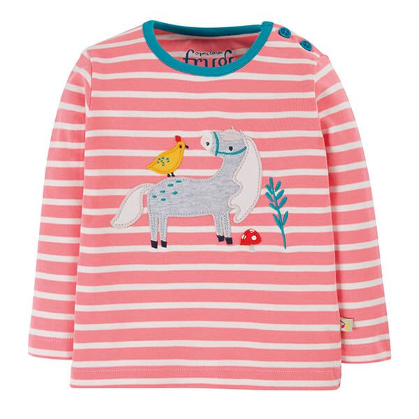 Frugi Organic Guava Pink Stripe Button Applique Top Size 2-3 Years