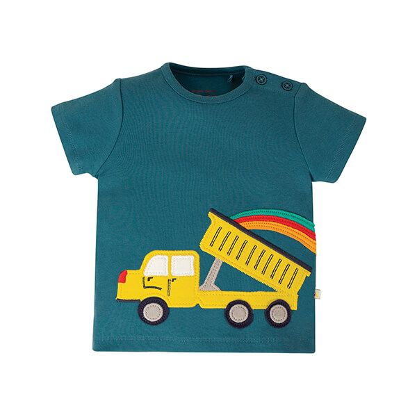 Frugi Organic Scout Applique Top Steely Blue/Truck