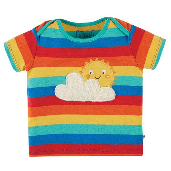 Frugi Organic Rainbow Stripe/Sun Bobster Applique T-shirt