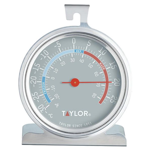 Stainless Steel Taylor Pro Fridge Freezer Thermometer with Classic Design 8.5 x 4.5 x 10 cm