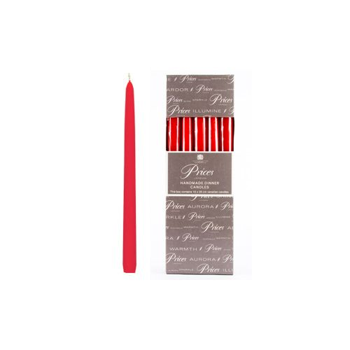 Prices Venetian 10 inch Dinner Candle Pack Of 10 Red