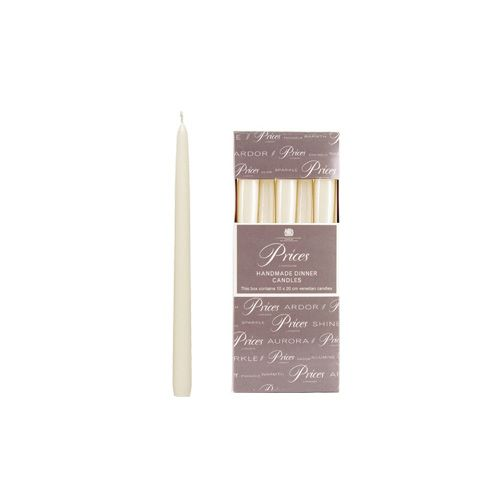Prices Venetian 10 inch Dinner Candle Pack Of 10 White