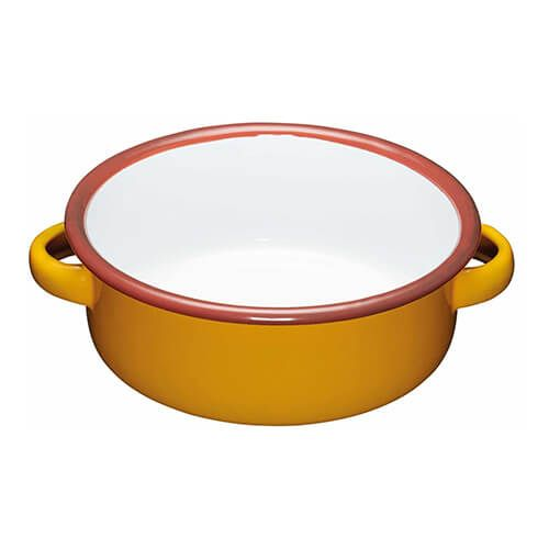 World Of Flavours Painted Yellow 11cm Enamel Dish