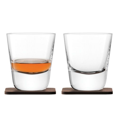 LSA Whisky Arran Tumbler 250ml Clear With Walnut Coaster Set Of 2