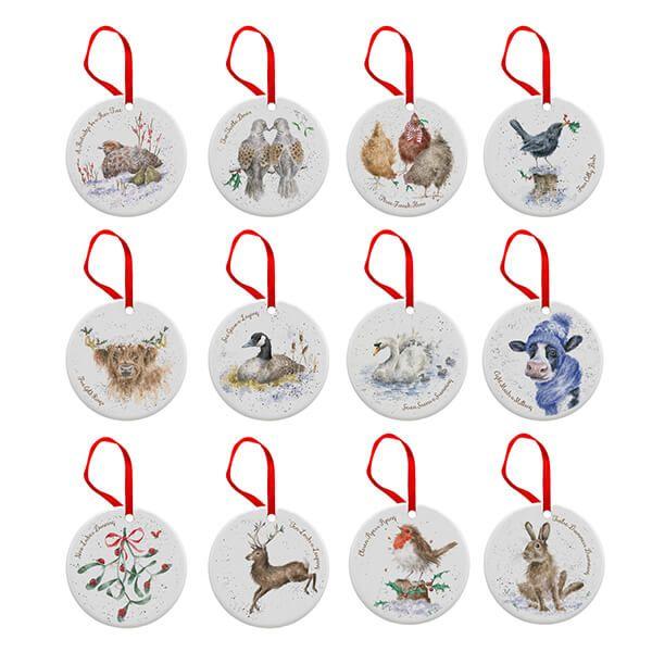 Wrendale Designs Ceramic Christmas Decoration 12 Days of Christmas Decorations