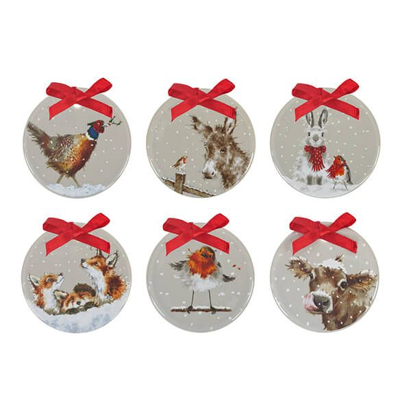 Wrendale Designs Set of 6 Grey Glaze Christmas Decorations