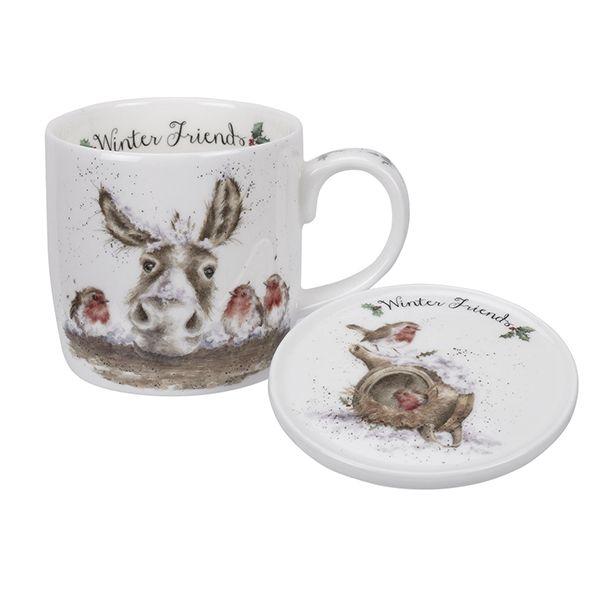 Wrendale Designs Fine Bone China Mug & Coaster Set Winter Friends Donkey & Robin