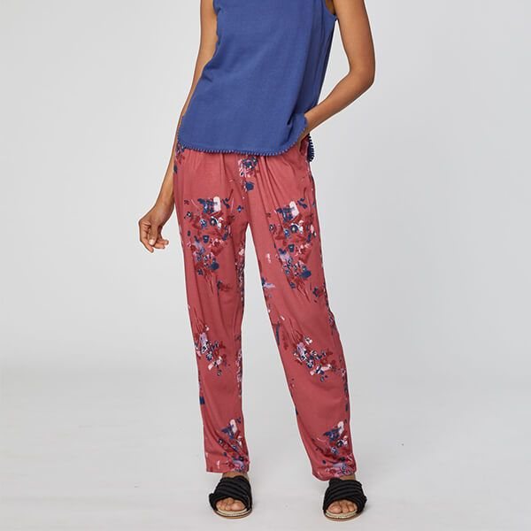 Thought Hibiscus Red Cassia Trousers Size 10