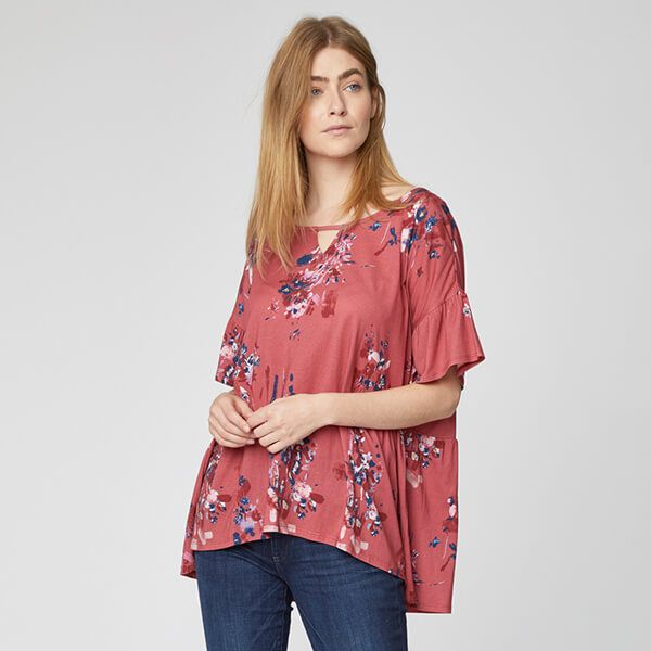 Thought Hibiscus Red Cassia Top Size 12