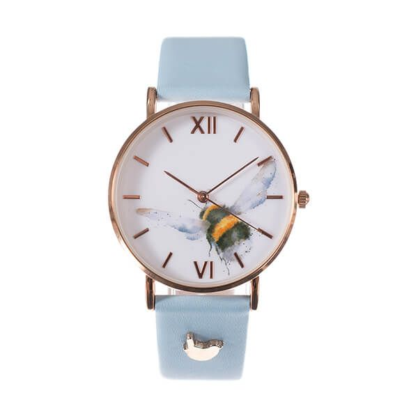 Wrendale Designs Bee Watch - Blue Leather Strap