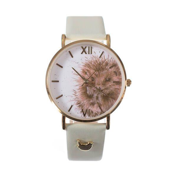 Wrendale Designs Hedgehog Watch - Green Leather Strap