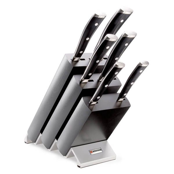 Wusthof Classic Ikon 6 Piece Knife Block Set Black