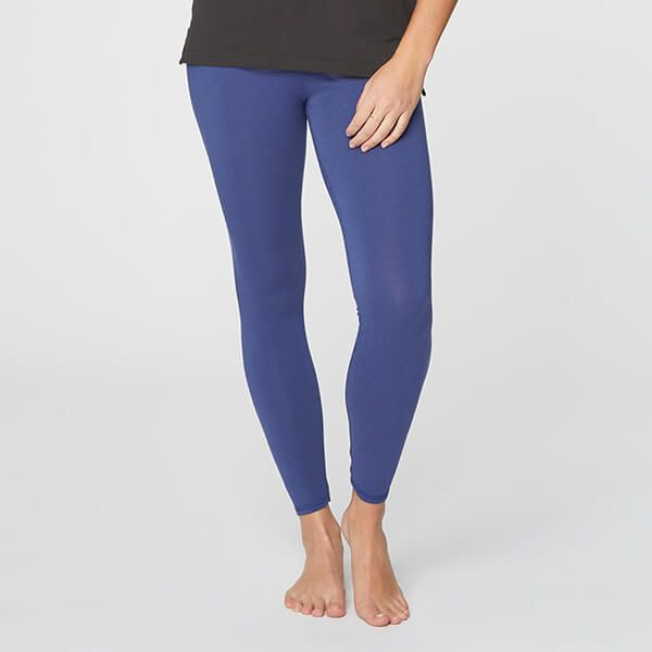 Thought Ocean Blue Bamboo Base Layer Leggings Size 8