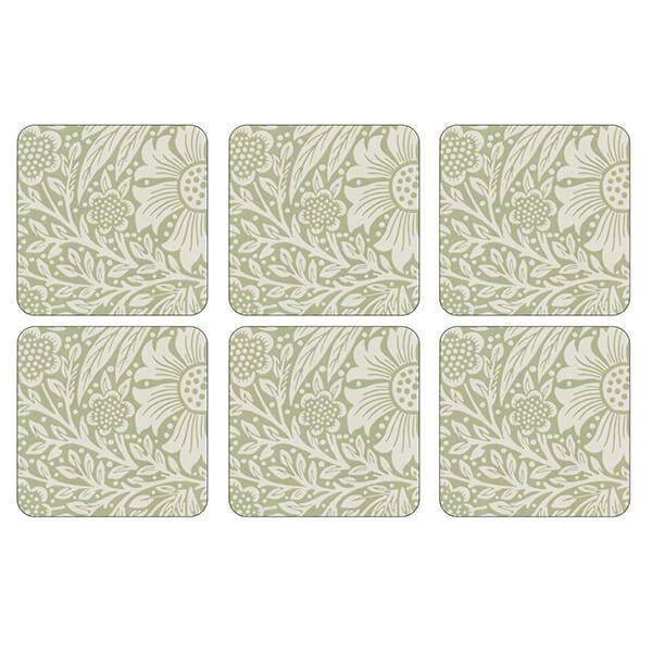 Morris & Co Marigold Green Coasters Set of 6