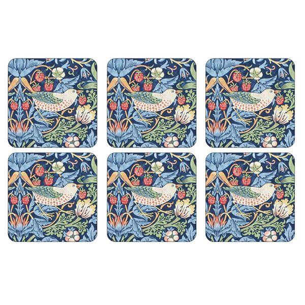 Morris & Co Strawberry Thief Blue Coasters Set of 6