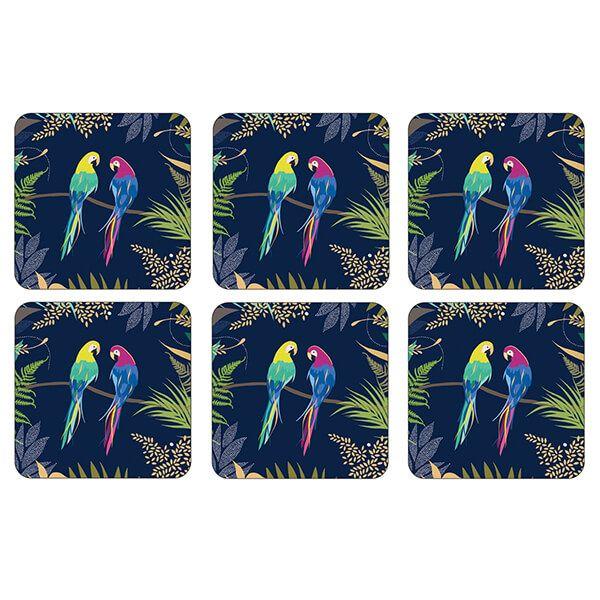 Sara Miller Parrot Set of 6 Coasters