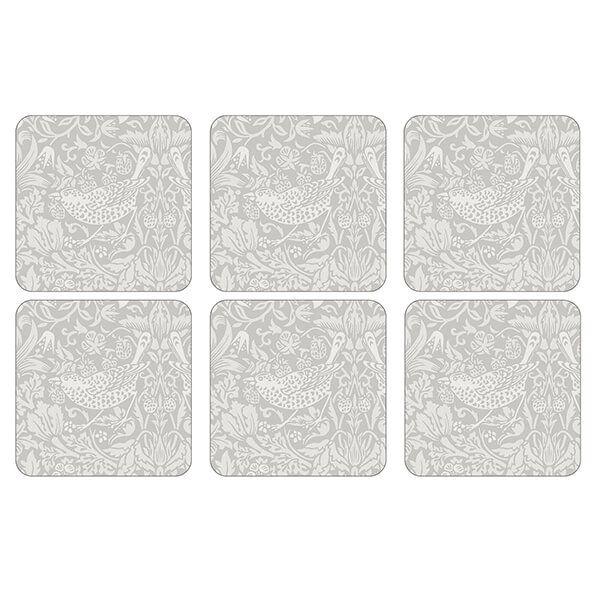 Morris & Co Pure Strawberry Thief Coasters Set of 6
