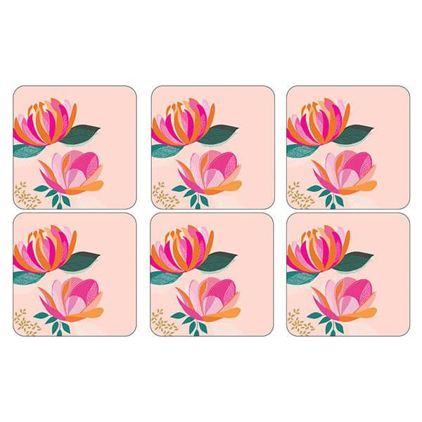 Sara Miller Peony Collection Set of 6 Pink Coasters