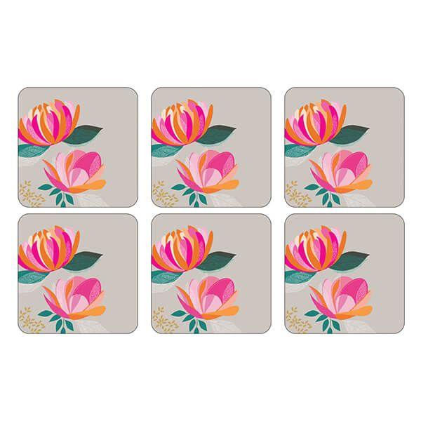 Sara Miller Peony Collection Set of 6 Grey Coasters