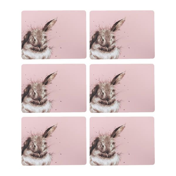 Wrendale Designs Set of 6 Pink Rabbit Placemats