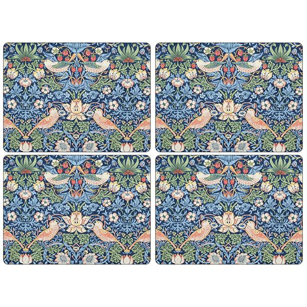 Morris & Co Strawberry Thief Blue Placemats Set of 4