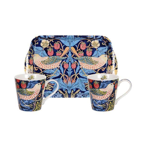 Morris & Co Strawberry Thief Blue Mug & Tray Set