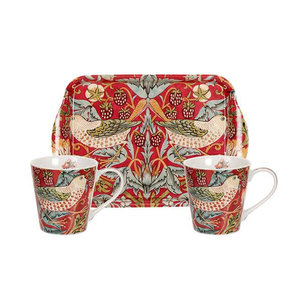 Morris & Co Strawberry Thief Red Mug & Tray Set