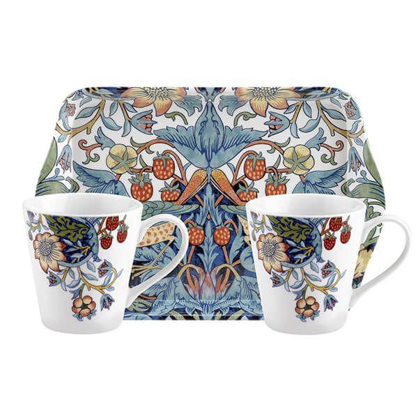 Morris & Co Strawberry Thief Mug & Tray Set