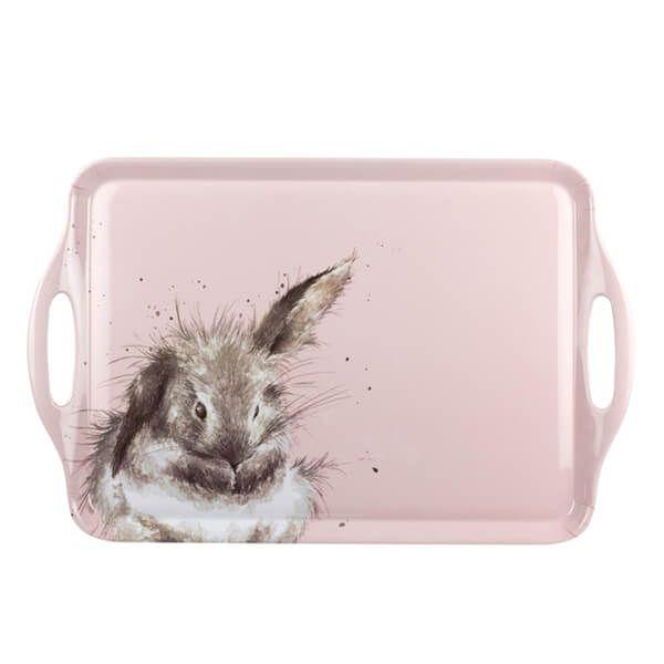 Wrendale Designs Large Handled Tray Pink Rabbit