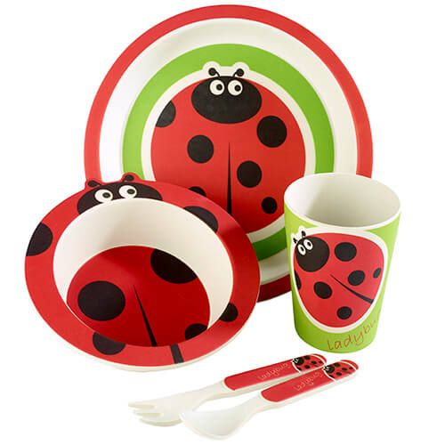 Arthur Price Bambino Ladybird 5 Piece Bamboo Childs Dining Set