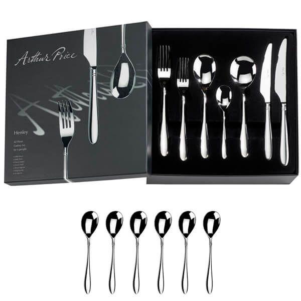 Arthur Price Signature Henley 42 Piece Cutlery Box Set Plus FREE Set of 6 Tea Spoons