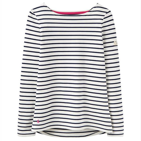 Joules Harbour Long Sleeve Jersey Top Creme Stripe