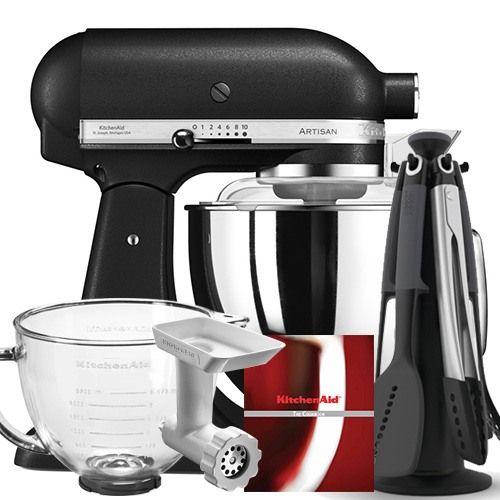 KitchenAid Artisan 175 Cast Iron Black Food Mixer With FREE Gift
