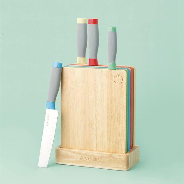 Viners Assure Colour Code Knife Block & Board Set