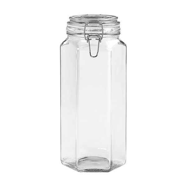 Tala Hexagonal Glass Clip Top Storage Jar 1790ml