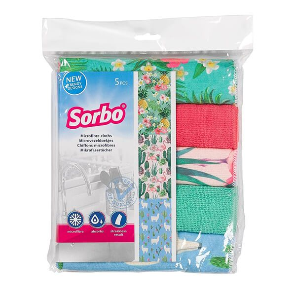 Sorbo Pack of 5 Microfibre Cloths in Botanical Print