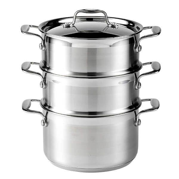 Dexam Supreme 18cm Stainless Steel 3 Tier Steamer Set