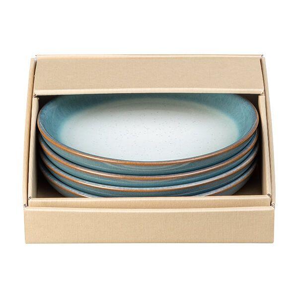 Denby Azure Haze 4 Piece Small Coupe Plate Set
